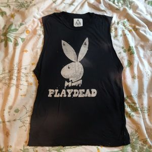 "Unif ""play dead"" cut off tank top"